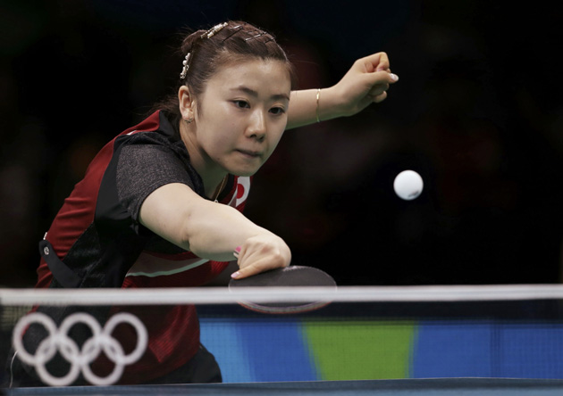 2016 Rio Olympics - Table Tennis - Women's Singles - Bronze Medal Match - Riocentro - Pavilion 3 - Rio de Janeiro, Brazil - 10/08/2016. Ai Fukuhara (JPN) of Japan plays against Kim Song I (PRK) of North Korea.   REUTERS/Alkis Konstantinidis FOR EDITORIAL USE ONLY. NOT FOR SALE FOR MARKETING OR ADVERTISING CAMPAIGNS.